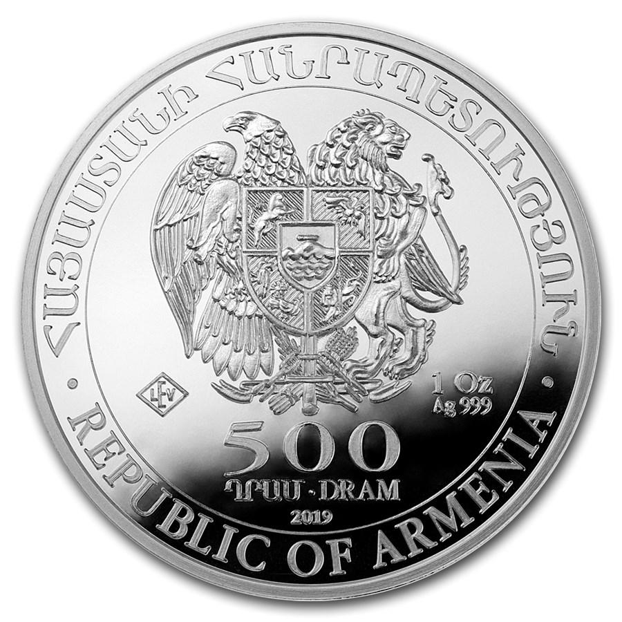 BU 2019 1 oz Armenia Silver Noahs Ark Coin